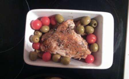 Kuře na zelenině s olivami