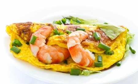 Omeleta s krevetami