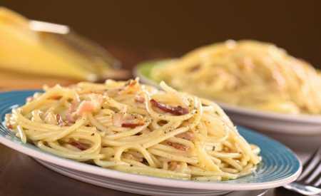 Špagety se slaninou a smetanou